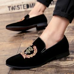 WeWolf - Bee Embroidered Faux-Suede Loafers