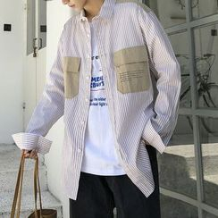 Consto - Lettering Pocket Striped Shirt