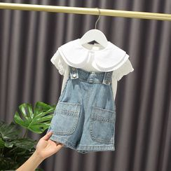 Mini Bae - Kids Set: Collared Short-Sleeve Top + Denim Jumper Shorts