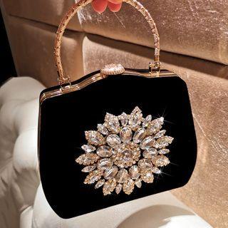 LOLIBOX(ロリボックス) - Rhinestone Flower Velvet Handbag