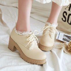 Shoes Galore - Block-Heel Lace-Up Oxford Pumps
