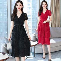 Tanzil - Short-Sleeve Sequined Midi Layered Dress