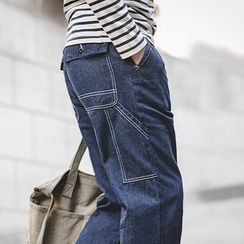 Maden - Contrast Stitched Straight-Cut Jeans