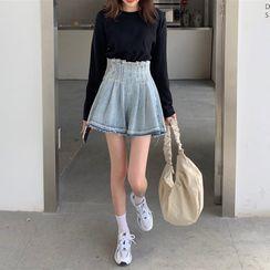 merryberry - Wide-Leg Denim Shorts