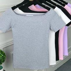 Basik - Boat Neck Short-Sleeve T-Shirt