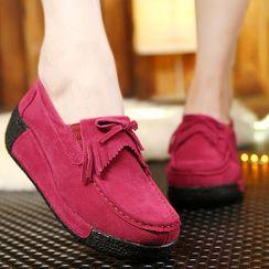 MINIKA - Bow Fringed Platform Wedge Loafers