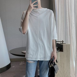 8th Sense - Elbow-Sleeve Loose-Fit Plain T-Shirt