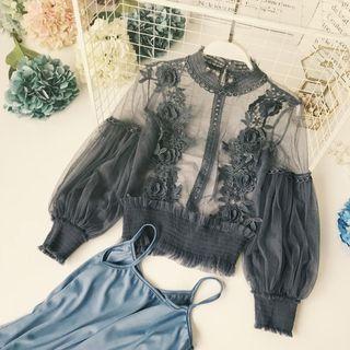Lucuna - 套装: 纯色吊带背心上衣 + 蕾丝拼接长袖上衣