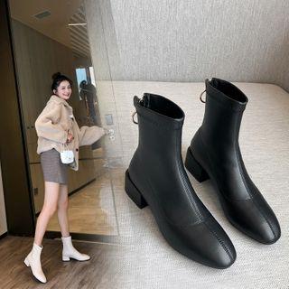 Kireina - Faux Leather Zip Block-Heel Ankle Boots