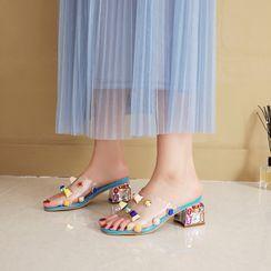 Megan - Rhinestone Block Heel Slide Sandals