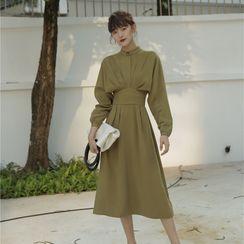 Arabesquito - Plain Long-Sleeve Midi A-Line Dress