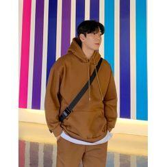 GERIO - Kangaroo-Pocket Fleece-Lined Boxy Hoodie