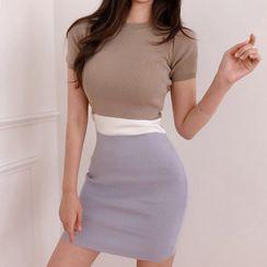Hasu - Short-Sleeve Color Block Mini Knit Dress