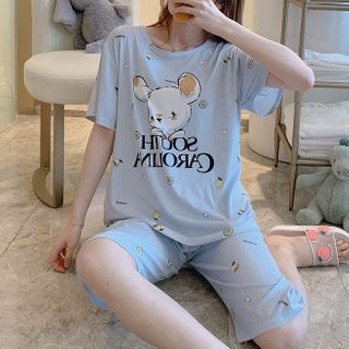 Sweetzer - Pajama Set: Printed Short-Sleeve T-Shirt + Shorts
