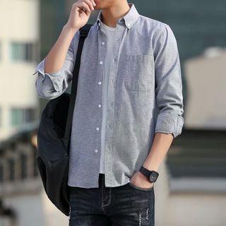 YAVER - Long-Sleeve Plain Shirt