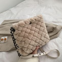 Skyglow - Quilted Furry Crossbody Bag