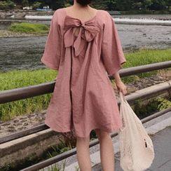 TROBIZ - 3/4-Sleeve Bow Accent Mini A-Line Dress