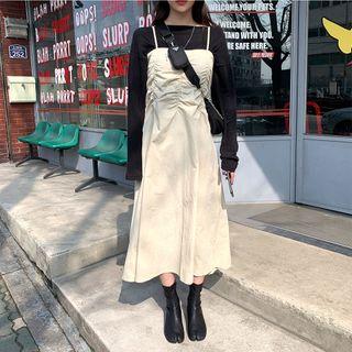 chuu - Ruched Maxi Bustier Dress