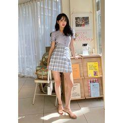 chuu - Plaid Box-Pleat Miniskirt
