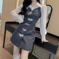 Guromo - Plain Shirt / Ribbon Mini A-Line Overall Dress