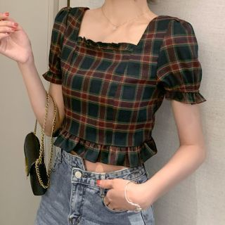 Gray House - Plaid Ruffle Trim Puff-Sleeve Square-Neck Cropped Blouse