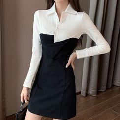 Tidel - Long-Sleeve Henley Mini Shirtdress