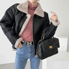 PPGIRL - High-Neck Faux-Shearling Jacket
