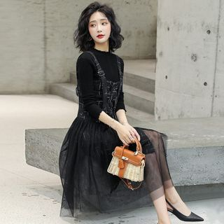 Romantica - 套裝: 小高領針織上衣 + 格子背帶中裙