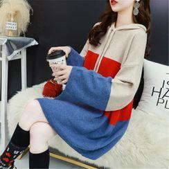 Maple Fair - Color Panel Oversize Knit Hoodie