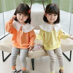 ChibiJia - 小童套装: 皱摺边卫衣 + 条纹裤