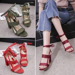 KONIN - Faux Leather Block-Heel Sandals