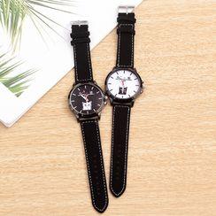 Biccup - 貓印花仿皮帶式手錶