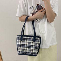 Letheroni - Set: Plaid Mini Handbag + Zip Pouch