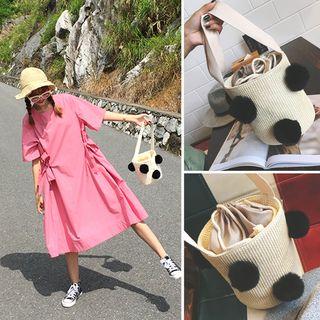 Clair Fashion - 韓版可愛球球漱口編織圓桶包