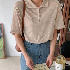 MERONGSHOP - Basic Linen Blend Polo Shirt