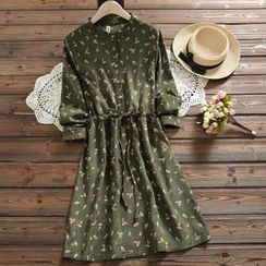 Kiche - 長袖樹葉印花燈芯絨襯衫裙