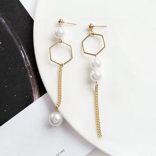 Isle of Green - Asymmetrical Faux Pearl Drop Earring