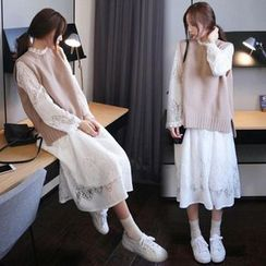 Yaonee - Lace Long-Sleeve Midi A-Line Dress / Knit Vest