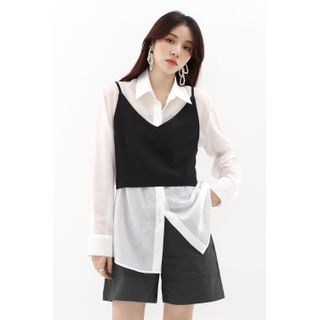 SIMPLY MOOD - Reversible Button-Up Bustier Top