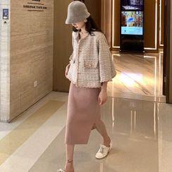Apotheosis - Set: Button-Up Tweed Jacket + Knit Pencil Skirt