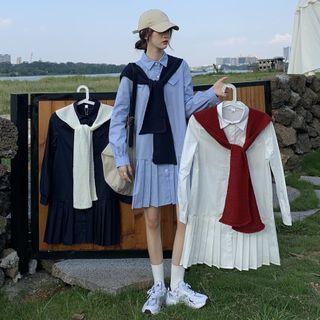 Mikiko - Long-Sleeve Mini A-Line Shirt Dress / Scarf