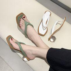 Vindler - Clear Block Heel Flip Flops