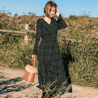 chuu - Gathered-Waist Polka-Dot Maxi Dress
