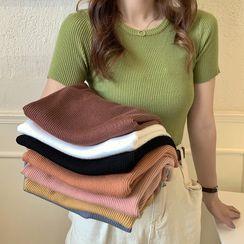 Cerauno - 纯色短袖罗纹上衣