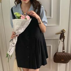 Windcatcher - Short-Sleeve Blouse / Pleated Overall Dress