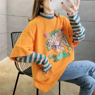 Jewie - Mock Two-Piece Striped-Sleeve Lettering T-Shirt