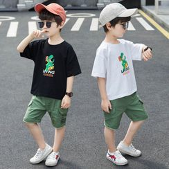 PAM - Kids Set: Short-Sleeve Graphic Print T-Shirt + Cargo Shorts