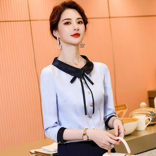 Celestia - 長袖領結帶襯衫