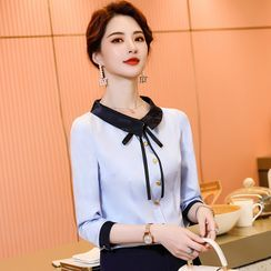 Celestia - Long-Sleeve Tie-Neck Blouse