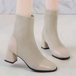 BySEA - Cap-Toe Knit Block Heel Short Boots